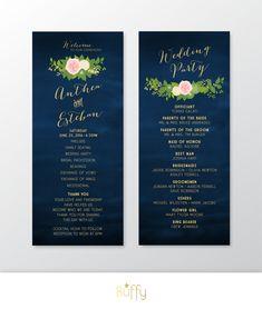 $40 on ETSY | The JULIE Program Card. Gold Calligraphy & Navy Chalkboard Wedding Party Ceremony . Blush Cream Rose Dahlias Peonies Hydrangea . Custom PDF by BuffyWeddings on Etsy
