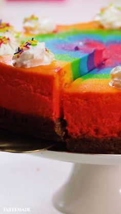 cheesecake rainbow zebra Rainbow Zebra CheesecakeYou can find Desserts videos and more on our website Easy Desserts, Delicious Desserts, Yummy Food, Food Cakes, Cupcake Cakes, Cupcakes, Baking Recipes, Cookie Recipes, Macaron