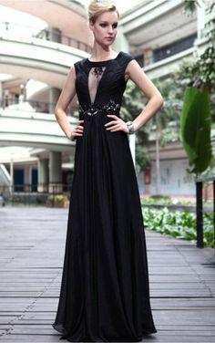 Black Sheath Floor-length Jewel Dress [Dresses 10062] - $216.00 :