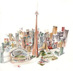 Lucy painted Toronto from a postcard picture.