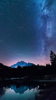 Starry night in the mountains by Dreamy Pixel on @creativemarket