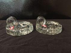 (2) Gorgeous Svend Jensen Glass Candle Holders Candlestick Finger Handle Heavy  | eBay