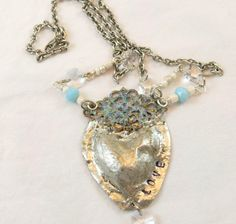 HandMade Puffed Heart  Heart Pendant by Objectsandoddities on Etsy