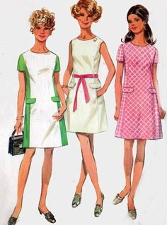 1960s Princess Line Color Block Dress Simplicity 8083 Vintage 60s MOD MAD MEN Sewing Pattern Size 10 Bust 32.5 by sandritocat on Etsy