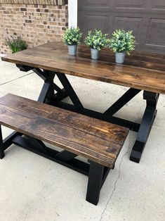 Your place to buy and sell all things handmade – farmhouse table Table Picnic, Painted Picnic Tables, Outdoor Picnic Tables, Patio Table, Diy Table, Outdoor Dining, Dining Table, Outdoor Decor, Dining Room