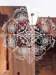Mandala painted at Windows, POSCA