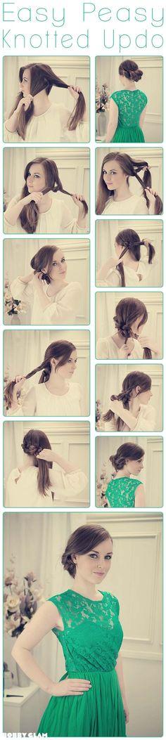 DIY Easy Peasy Knotted Updo diy diy ideas easy diy diy beauty diy hair diy fashion beauty diy diy bun diy style diy hair style diy updo