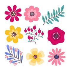 Print Calendar, Flat Illustration, Abstract Pattern, Spring Flowers, Printable Art, Folk Art, Art Projects, Vector Free, Drawings