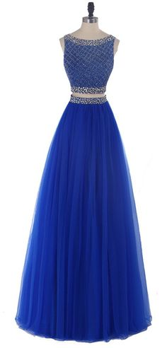 """Yudear Women's Scoop Beads Two Pieces Floor Length Dresses for Prom US 18 Royal. We recommend you only to choose brand """" Yudear """" when you place the order, some sellers are selling the fake in poor quality with lower prices. The dress is ONLY sold by Yudear. Please note that the delivery date that you saw is automatically setted by Amazon system, if you need the dress urgent, you need to choose fast shipping and tell us your deadline, so that we can rush the process. All of our dresses…"""