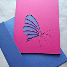 handmade card with gorgeous Cut Paper Butterfly by  Kate Sears ... all things paper ... hand cut .. rich magenta and purple color combo ... elegant look ...