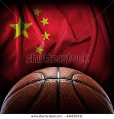 basketball against china flag background competition basketball sport team concept on dark background