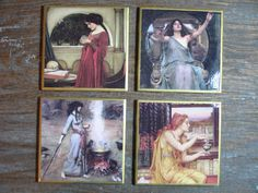 Pagan Sorceress's Set of 4 Ceramic Drink Coasters by artifaxmod