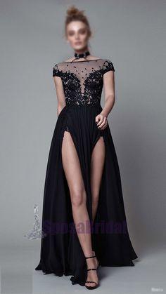 16f7e79e73b37 Black Chiffon Lace Split Cap Sleeves Fashion Long Affordable Prom Dresses