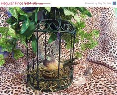 Decorative Floral and Wrought Iron Metal Bird Cage - Irises - Bird on Nest - Very Pretty Vintage Piece