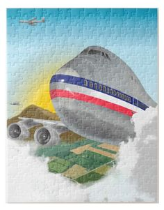 Jumbo Airliner 11 x 14 Jigsaw Puzzle - Gate 72 Game Tag, Jigsaw Puzzles, Accessories, Puzzle, Puzzle Games, Ornament
