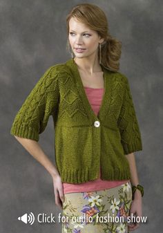 NaturallyCaron.com :: Sapporo Cardigan  I don't like the green, but trying to imagine this in a different color....