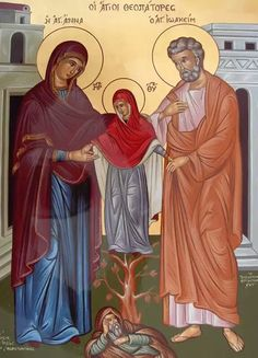 Saints Anne and Joachim holding Our Lady Mary who comes forth from the root of Jesse.
