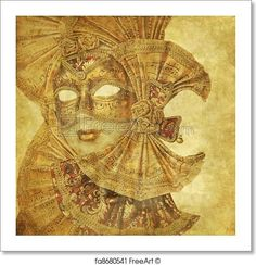 Free art print of Rich antique venetian mask with music paper decorations on a grunge wallpaper