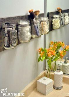 How to Create a Mason Jar Organizer to reduce bathroom clutter.