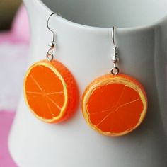 Orange Fruit Slice Earrings