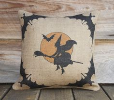 Halloween Pillow Cover, Witch Bats and Moon, Spooky Decoration, Porch, Moon, Trick or Treat, Party Decor, 16x16. $38.00, via Etsy.