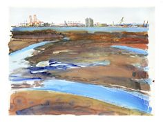 Steve Singer; Newark Bay, 2012; Watercolor. New Jersey, Museum, Singer, Watercolor, Artwork, Painting, Artists, Pen And Wash, Watercolor Painting