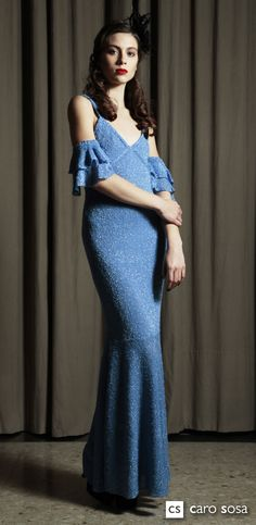 blue dress,botone con seda y lurex.