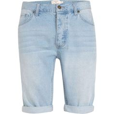 TOPMAN Light Wash Skinny Jean Shorts (1.180 UYU) ❤ liked on Polyvore featuring men's fashion, men's clothing, men's jeans, mens blue jeans, mens light wash jeans and mens blue skinny jeans