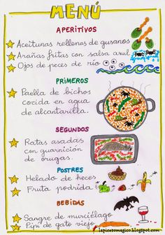 LAPICERO MÁGICO: Menú para monstruos Spanish Menu, Spanish Class, Creative Writing, Holidays And Events, Writing Prompts, Lesson Plans, Halloween Party, Literature, Bullet Journal