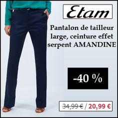 #missbonreduction; Economisez 40 % sur le Pantalon de tailleur large, ceinture effet serpent AMANDINE chez Etam.http://www.miss-bon-reduction.fr//details-bon-reduction-Etam-i179-c1831824.html