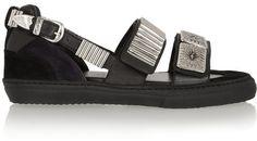Toga Embellished leather and suede sandals on shopstyle.com