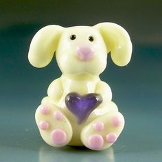 SOME BUNNY LOVES YOU Valentine Handmade Lampwork Focal Bead SRA Gelly