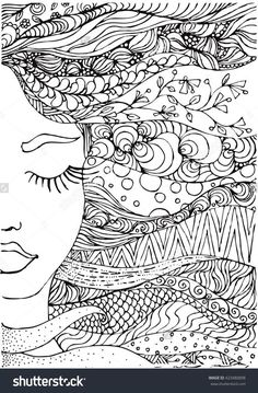 ink doodle woman's face and flowing coloring page zendala More