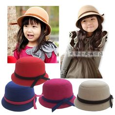 2014 Fashion Autumn Winter Soft warm Casual Girl dress hats Bowknot Belt Bucket hat for children girls Travel Church Fedora cap
