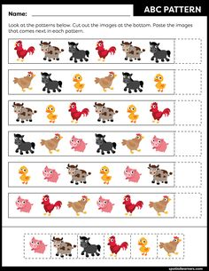 These FREE printable worksheets for kids are great for practicing spatial concepts! These patterns worksheets can be used as homework, bell-ringer activity, warm-up activity, or speech therapy work. Fun activity for your kindergarten or grade 1 students! Pattern Worksheets For Kindergarten, Patterning Kindergarten, Pre K Worksheets, Kindergarten Worksheets, Speech Therapy Worksheets, Speech Therapy Games, Math Patterns, Sequencing Activities, Puzzles For Kids