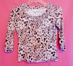 Jones New York Animal Print Top Size S Ruffled Scoop Neck 3/4 Sl. #JonesNewYork #KnitTop #Career