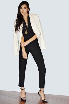 These separates look so sophisticated when you add a blazer and a pendant necklace.