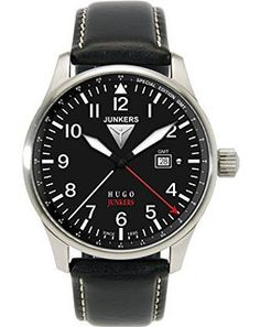 Junkers Herren-Armbanduhr XL Hugo Analog Quarz Leder 66442