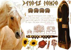 IX. -X. századi elől záródó fekete/arany bőrből készült F.fi bőrköntös /kaftán/ övvel. HONFOGLALÁS KORA.../NAZCA Műhely/