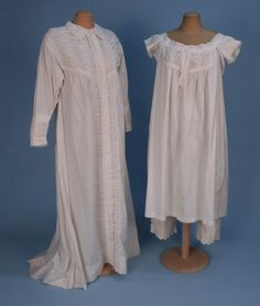 FANCY NIGHTDRESS, CHEMISE and DRAWERS SET, 1860's. White cotton, the long sleeve dress with slight train having lavish ruching and broderie anglaise on the collar, yoke, front placket and deep cuff, matching trim decorates the chemise on yoke, cap sleeve and placket, cuff of drawers.