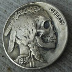 Hobo coin - Coin carving was greatly popularized in the early 20th century with the introduction of the Buffalo nickel.