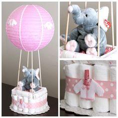Pastel de pañal de globo de aire caliente por Dapperbabycakes