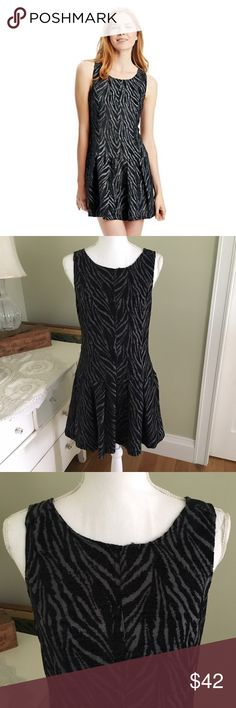 "Free People Black and Gray Zebra Drop Waist Dress Free People chenille Zebra print drop waist dress in gray and black. Sleeveless, back zipper, two front pockets. Size: 10. Chest: 18.5"". Waist: 16.5"". Length (strap to hem): 34"". Excellent condition! Free People Dresses"