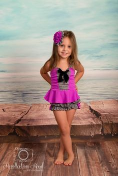 Sale! Peplum Tankini & Bloomers in Black Gingham and Magenta: SS16 Collection (Size 12/18 months - 5