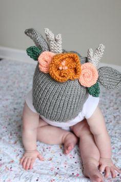 PDF Pattern, Toddler boho deer hat, knit baby hat, children's knit hat, toddler bonnet, toddler animal ear hat, children's animal ear hat
