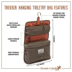 7520b96050 Trekker HANGING TOILETRY BAG•Dopp Kit•Mens Dopp Kit•Canvas   Leather Travel  Kit•Gifts For Him•Groomsmen Gift•Anniversary Gift