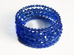 Memory Wire Blue Bracelet Glass Beads Beaded Wrap by Carramela