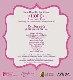 Breast Cancer Awareness Month Event hosted by Sugar House Day Spa #charity #fashion #event #cure #NBCF #donate #october Give Hope, Breast Cancer Awareness, Charity, Cure, Spa, Spas