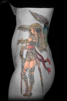 Athena tattoo - some SWEET artwork I want this & Aphrodite on the other side