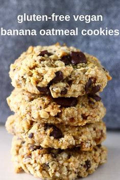 These Gluten-Free Vegan Banana Oatmeal Cookies are soft, chewy, and perfectly sweet. They're easy to make and can be customised however you like - you can add chocolate chips, raisins, nuts or any other dried fruit. They're egg-free, dairy-free, refined sugar free and sugar-free optional too. They make the perfect satisfying and healthy dessert, snack or breakfast. #vegan #dairyfree #cookies #bananacookies #breakfast #snack #dessert #glutenfree #refinedsugarfree Vegan Banana Cookies, Healthy Cookies, Vegan Snacks, Vegan Recipes, Diet Recipes, Cookie Recipes, Sugar Free Oatmeal, Sugar Free Cookies, Chip Cookies